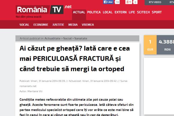 Ai cazut pe gheata? Iata care e cea mai PERICULOASA FRACTURA si cand trebuie sa mergi la ortoped | romaniatv.net