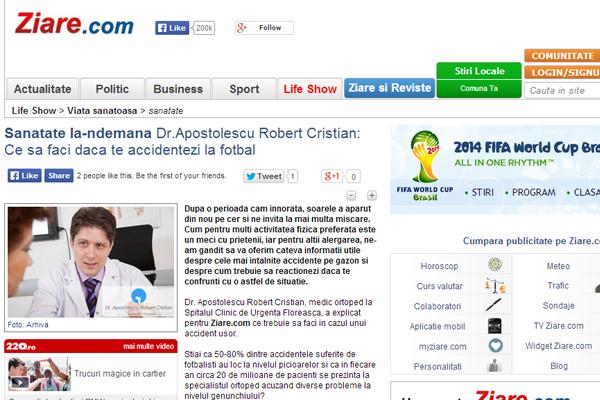 Sanatate la-ndemana Dr.Apostolescu Robert Cristian: Ce sa faci daca te accidentezi la fotbal | ziare.com