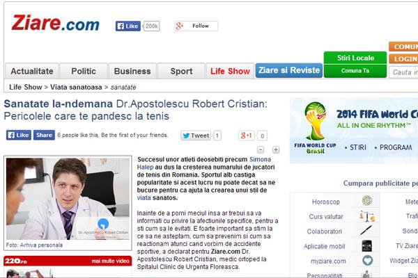 Sanatate la-ndemana Dr.Apostolescu Robert Cristian: Pericolele care te pandesc la tenis | ziare.com