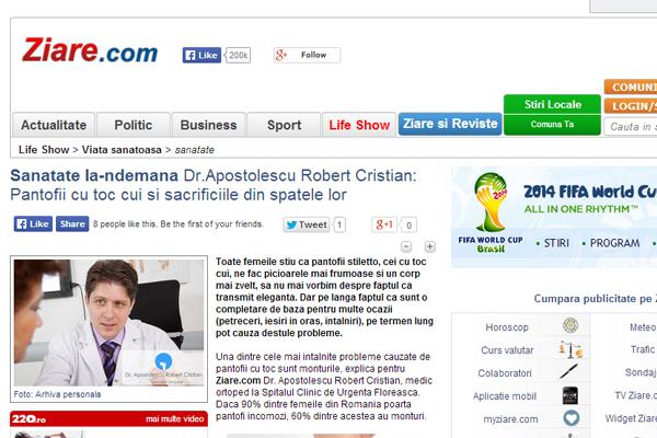 Sanatate la-ndemana Dr.Apostolescu Robert Cristian: Pantofii cu toc cui si sacrificiile din spatele lor | ziare.com
