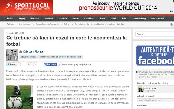 Ce trebuie sa faci in cazul in care te accidentezi la fotbal | sportlocal.ro