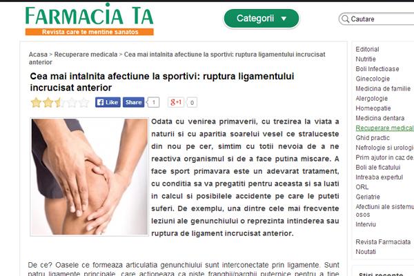 Cea mai intalnita afectiune la sportivi: ruptura ligamentului incrucisat anterior | farmaciata.ro