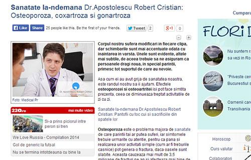 Sanatate la-ndemana Dr.Apostolescu Robert Cristian: Osteoporoza, coxartroza si gonartroza | ziare.com